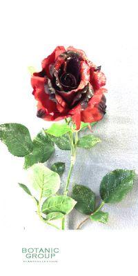 Weihnachtsdekoration - Kunstblume, Rose Georgia rot-schwarz