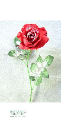 Weihnachtsdekoration - Kunstblume, Rose twiggy halb offen, rot m