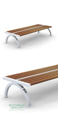 Park bench, bench SLC05, stainless steel with wood