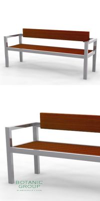 Park bench, bench SLC06, stainless steel with wood