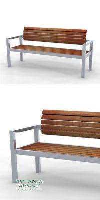 Parkbank, Sitzbank SLC07,  Edelstahl mit Holz