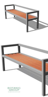Park bench, bench SLC10, stainless steel with wood