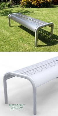 Park Bench SLC11, backless, steel or stainless steel