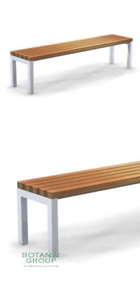 Park bench, bench SLC12, stainless steel with wood