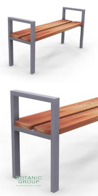 Park bench, bench SLC13, stainless steel with wood