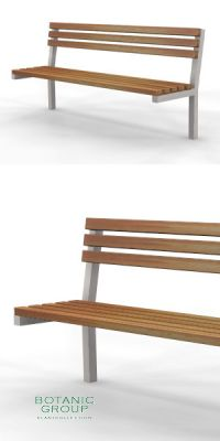 Park bench, bench SLC14, stainless steel with wood