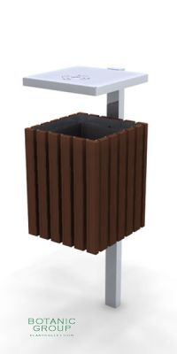 Waste containers, stainless steel & wood SLC08
