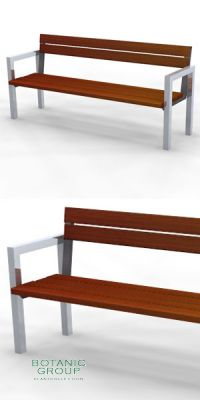 Park bench, bench SLC18, stainless steel with wood