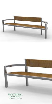 Park bench, bench SLC19, stainless steel with wood