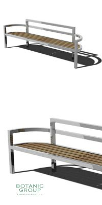 Park bench, bench SLC20, stainless steel with wood