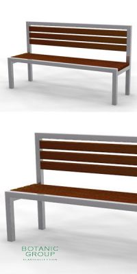 Park bench, bench SLC21, stainless steel with wood