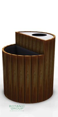 Waste containers with Planter, stainless steel & wood SLC09