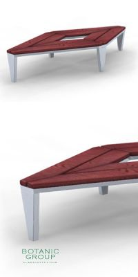Park bench, bench SLC23, stainless steel with wood
