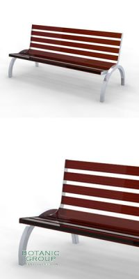 Park bench, bench SLC32, stainless steel with hard wood