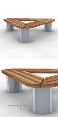 Sitzbank SLC36,  Stahl & Holz - Raumausstattung