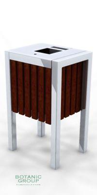 Müllbehälter, Abfalltonne SLC14 Edelstahl & Holz