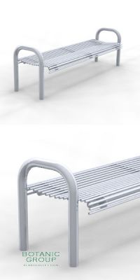 Park Bench SLC48, backless, steel or stainless steel