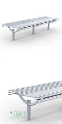 Park Bench SLC49, backless, steel or stainless steel