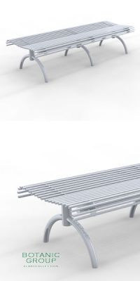 Park Bench SLC50, backless, steel or stainless steel
