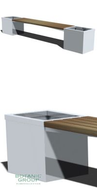Bench with planter SL01, backless, steel or stainless steel