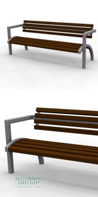 Park bench, bench SLC57, steel with wood