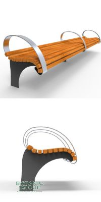 Park bench, bench SLC33, steel with wood