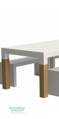 Outside piece of furniture table, garden table of aluminium and wood