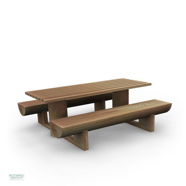 Sitzgruppe Woody 03, Holzbänke mit Tisch