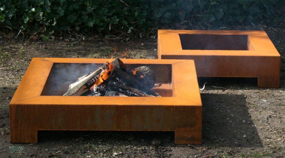 Feuerschale CUBE Design aus Cortenstahl, Stahl Feuerschale